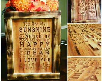 You are my Sunshine Carved Sign 11x14