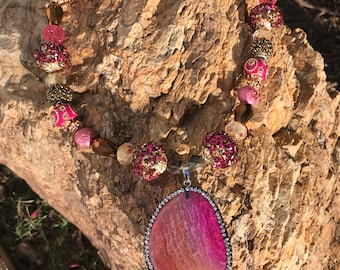 Pink geode necklace
