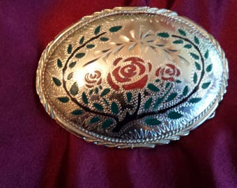 Vintage Belt Buckle Silver Turquoise Malachite Coral Rose Rodeo 80's