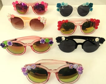 Flower sunglasses/Custom made/Retro design/Beach sunglasses/Cat eye