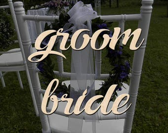 Wedding Chair Sign Groom and Bride, Wooden Chair Signs, Wood Wedding Decor, Wedding Signs, Wedding Chair Decor