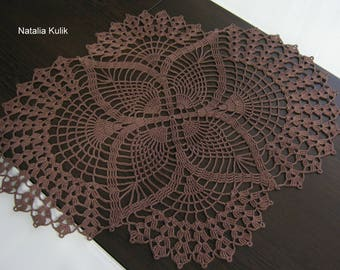 Crochet oval doily Brown doily Oval doilies Lace Table decoration Home decor Mothers gift Gift for woman Gift for her 16 inches