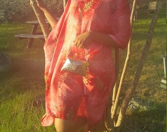 Pink silk caftan dress