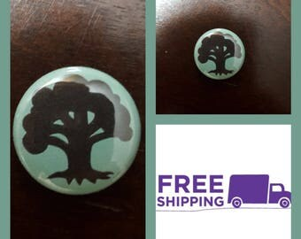 """1"""" Magic the Gathering Green Mana Button Pin or Magnet, FREE SHIPPING & Coupon Codes"""