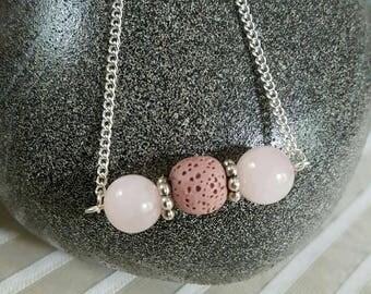 Lava Bead Diffuser Bar Necklace w/Rose Quartz & Blush Lava/Essential Oils/Diffuser Jewelry/Lava Bead Jewelry/Aromatherapy Jewelry