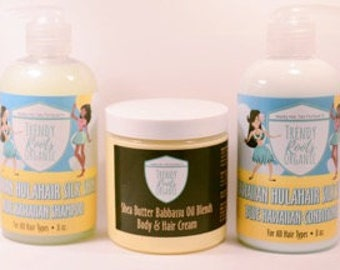 Trendy Roots Organic HulaHair Shampoo, Conditioner & Shea Butter