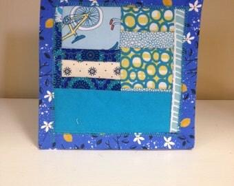 Blue Scrappy #4 Mug Rug Coaster Mini Quilt Wall Art Handmade Quilted