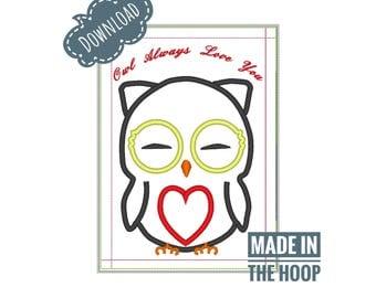 In the hoop, Mug Rug, Owl always love you, Machine Embroidery design, 5x7 hoop, Multiple Formats, Instant Download