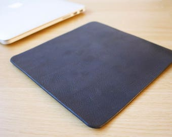 Black Leather Mouse Pad Leather Desk Pad Handmade in London Custom Sizing Available