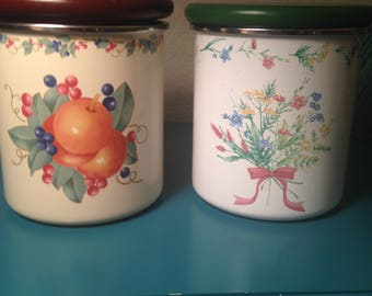 Set of 2 vintage enamelware kitchen canisters