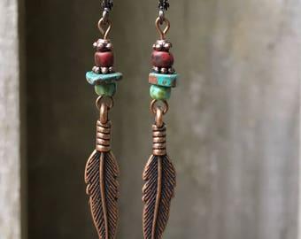Antique Copper Earrings Turquoise Earrings Bohemian Earrings Gypsy Earrings Feather Earrings Dangle Earrings Boho Jewelry Hippie Earrings