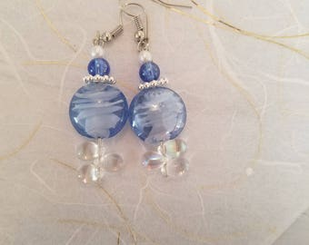Serene Blue and Clear Crystal and Glass Bead Earrings