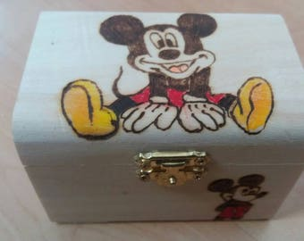 Mickey Mouse disney-style wooden treasure chest gift jewellery box - can be personalised if required