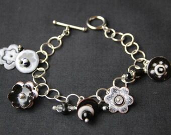 Black and White Whimsical Enameled Charm  Bracelet