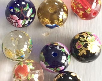 Glass floral style Tensha bead 12 mm