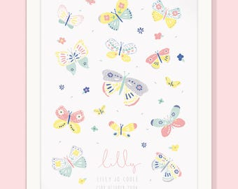 Personalised Baby girl/Children's Print -BUTTERFLY-A3 (unframed)
