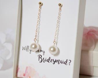 Bridesmaid Gift//Wedding Gift//Pearl Drop Earrings//Pearl Dangle Earrings//Gift for Wedding//Gift for Bridesmaid//14K Gold Fill, Silver