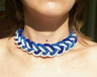 Beaded crochet necklace Sea breeze