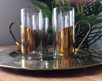 Vintage Danish Brass and Glass Irish Coffee Mugs | Hot Toddy Mugs | Brass Mugs | Brass Tray | Brass Decor | Decorative Brass