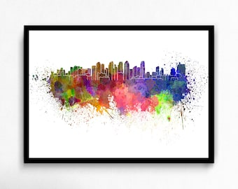 Watercolor San Diego canvas art print poster