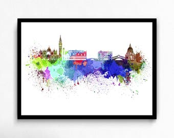Watercolor Venice canvas art print poster