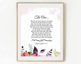 "Personalized Wedding Vow, ""The One"", Wedding Anniversary Gift, Personalized Wedding Poem, PRINTABLE Gift For Her, Gift For Him"