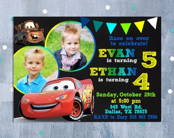 Cars Invitation, Cars Sibling Birthday Invitation, Cars Birthday Invitation, Cars Party, Lightning McQueen Twins Invite, Personalized JPEG