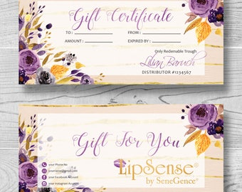 Lipsense Gift Certificate, Personalized printable gift cards, Senegence Distributor Gift Certificate, Custom Cards Purple Flowers