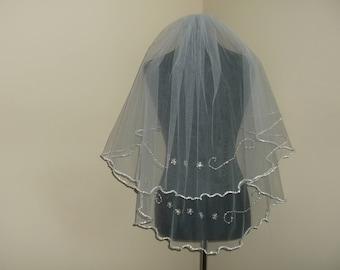 White 2 Tier Silver Beaded Wedding Veil
