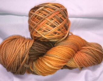 Pumpkin Pie, Bulky Weight, Hand Painted, Multi Color, Hand Dyed Yarn, Superwash Merino, Yarn
