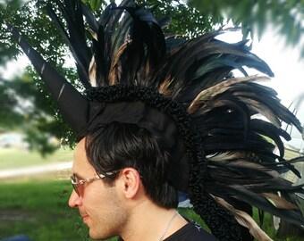 Black Unicorn Feather Mohawk Headdress
