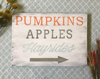 Pumpkins Apples Hayrides Sign, Pumpkins Apples Hayrides Wood Sign, Pumpkins Apples Hayrides Wooden Sign, Fall Signs, Farmhouse Fall Signs