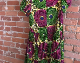 Green and Pink African Print Dress