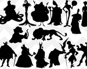 Disney Bundle SVG, Disney Villain SVG, Ursula svg, Scar svg, Maleficent svg, Gaston svg, Silhouette, Cricut, cut file, villains