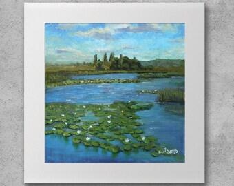Water lilies - Original oil painting