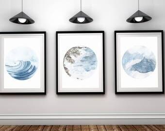 Ocean prints, set of 3 ocean printable,Set of 3 water Prints,Nature Printable,Nautical print,3 Piece Wall Art, Modern,Minimalist,ocean photo