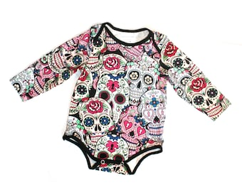 Baby onesie Sugar Skulls design long-sleeved Halloween gothic baby