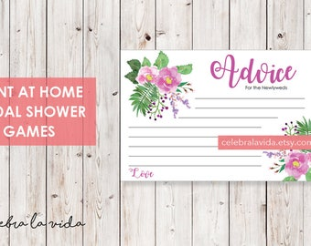 Advice Cards. Bridal Shower Game. Instant Download. Printable Bridal Shower Game. Pink and Purple Flowers. - 03