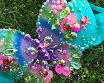 Turquoise Rainbow Jeweled Butterfly Rave Bra {READY TO SHIP 36B/34C}