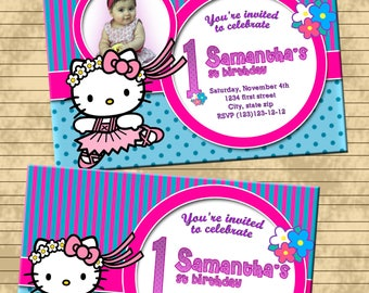 Hello Kitty invitation- birthday party invitation- thank you card-  FREE FAVOR TAG- Digital file or printed