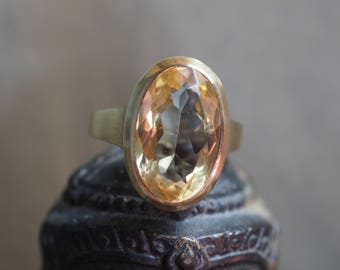 SALE - 10%! Mid Century about 6.7 ct. Citrine Solitaire Ring