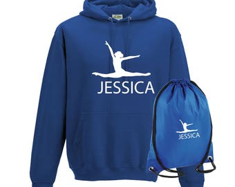 iLeisure Girls Personalised Air Jump Gymnastics/Dancers Hoody and Gym Bag Bundle