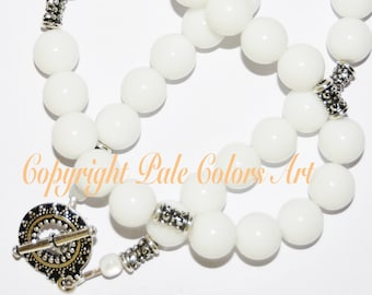 """24"""" White Necklace, Neutral Necklace,24 Inch Necklace,Brides Necklace,Wedding Gift, Neutral White Necklace,Fancy Silver Toggle, Wedding Gift"""