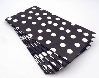 12 Black Gift Bags. Black and White Polka Dot Paper Gift Bags. Party Favor Bags. Party Bags