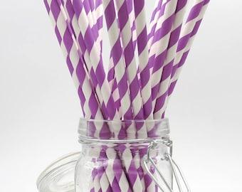 Purple Paper Straws. Striped Straws. Party Supplies. Drinkware.