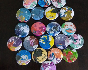 Paint Swatch Pins- Pinback Buttons- Buttons-Badges- Painting-Unique-One of a Kind-Fun Gifts
