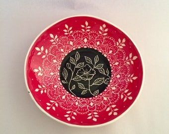 Beautiful Hand Carved Floral Folk Art Bowl