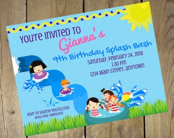 DIGITAL DOWNLOAD Splish Splash Birthday Invitation