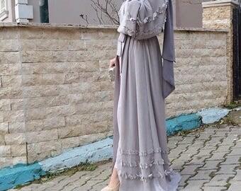 LILAC FLORAL Embellished Abaya