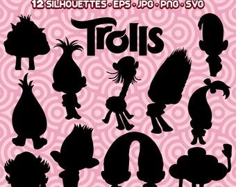 Trolls Silhouettes, Trolls Clipart, Trolls Cartoon, Trolls PNG, Trolls Digital, Trolls Cut File,  Instant Download 28